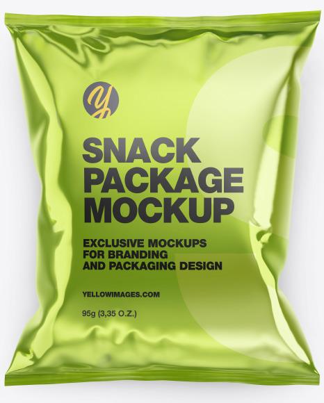 Glossy Metallic Snack Package Mockup