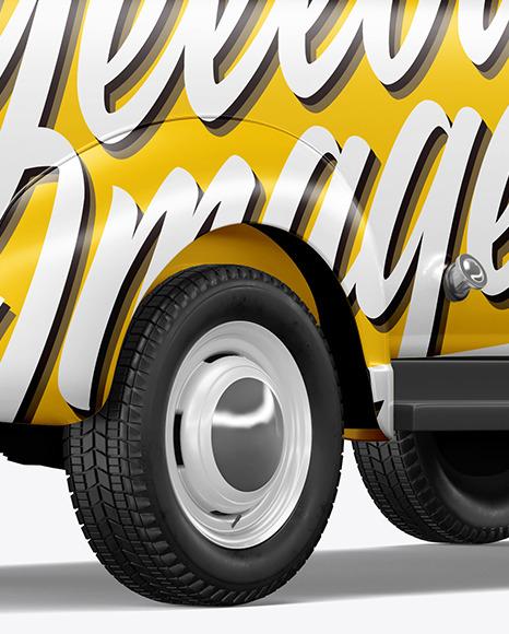 Retro Van Mockup - Back Half Side View
