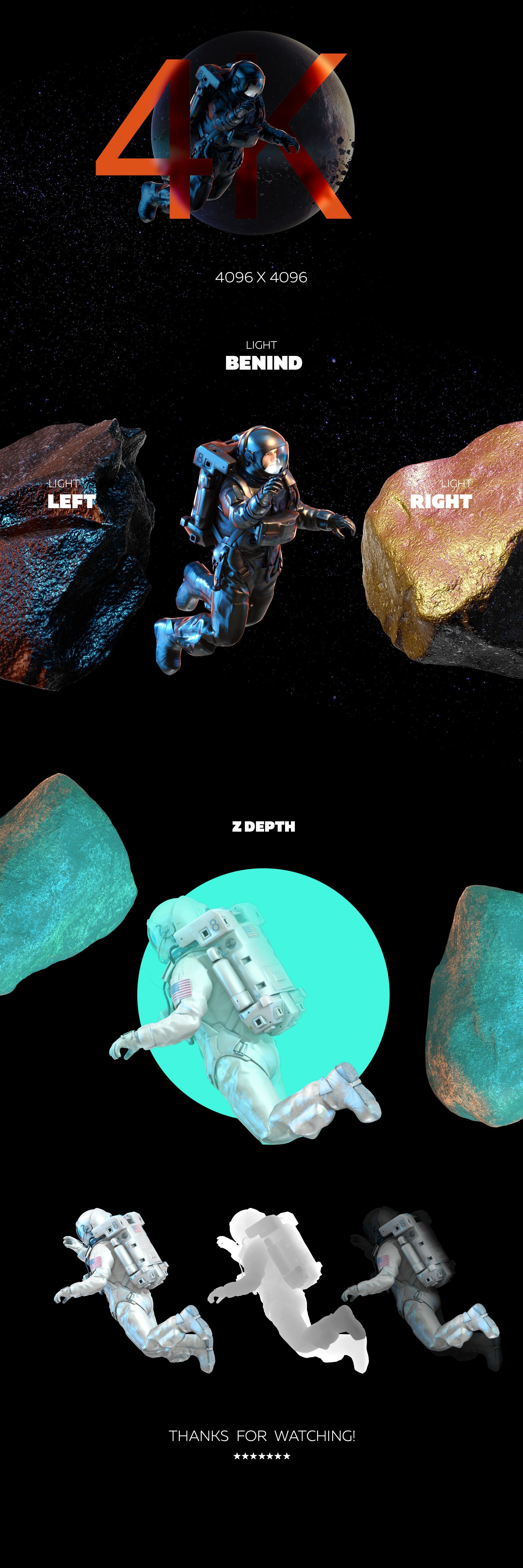 3D Mockup Space Astronaut #04