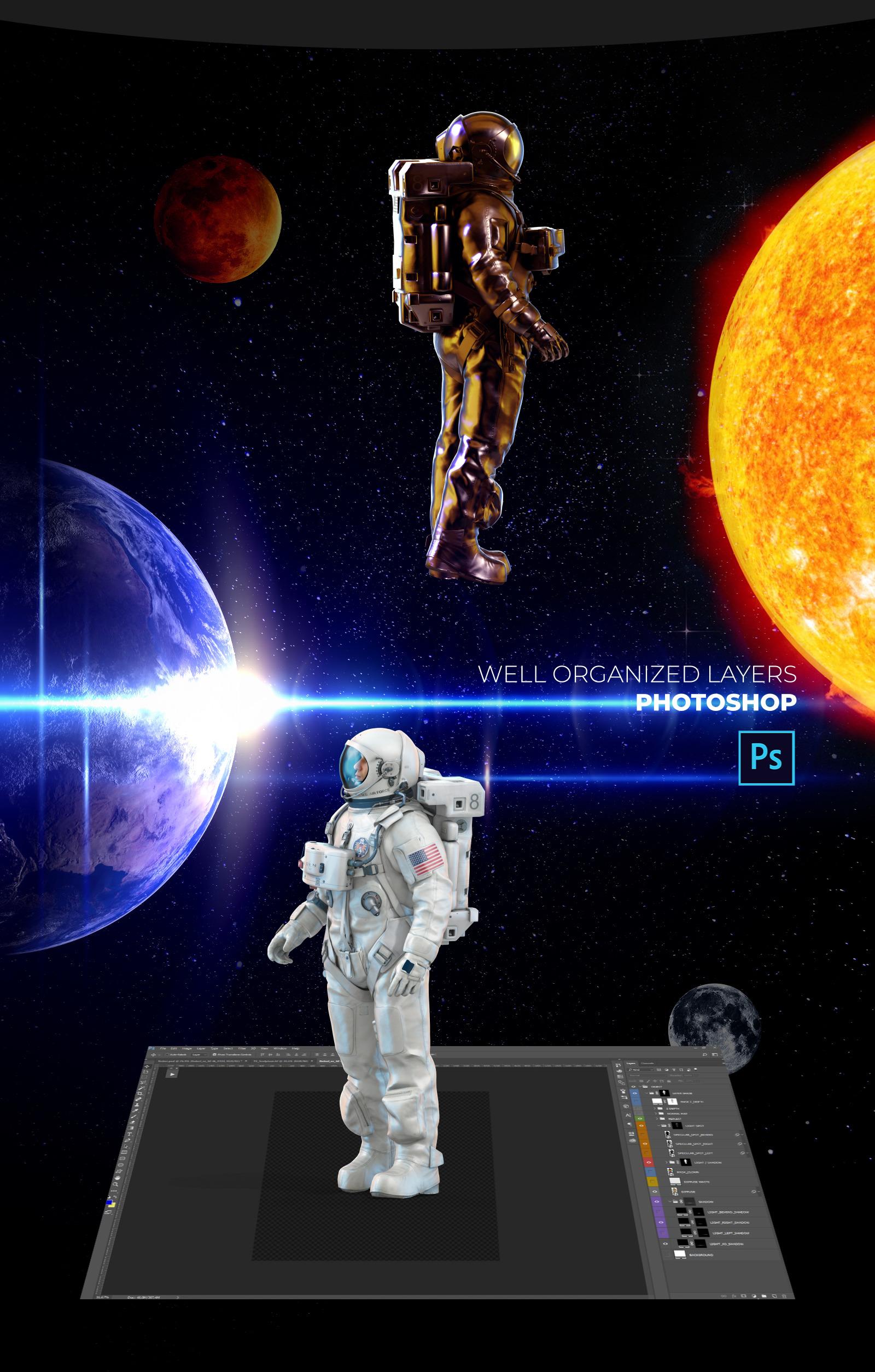 3D Mockup Space Astronaut #06