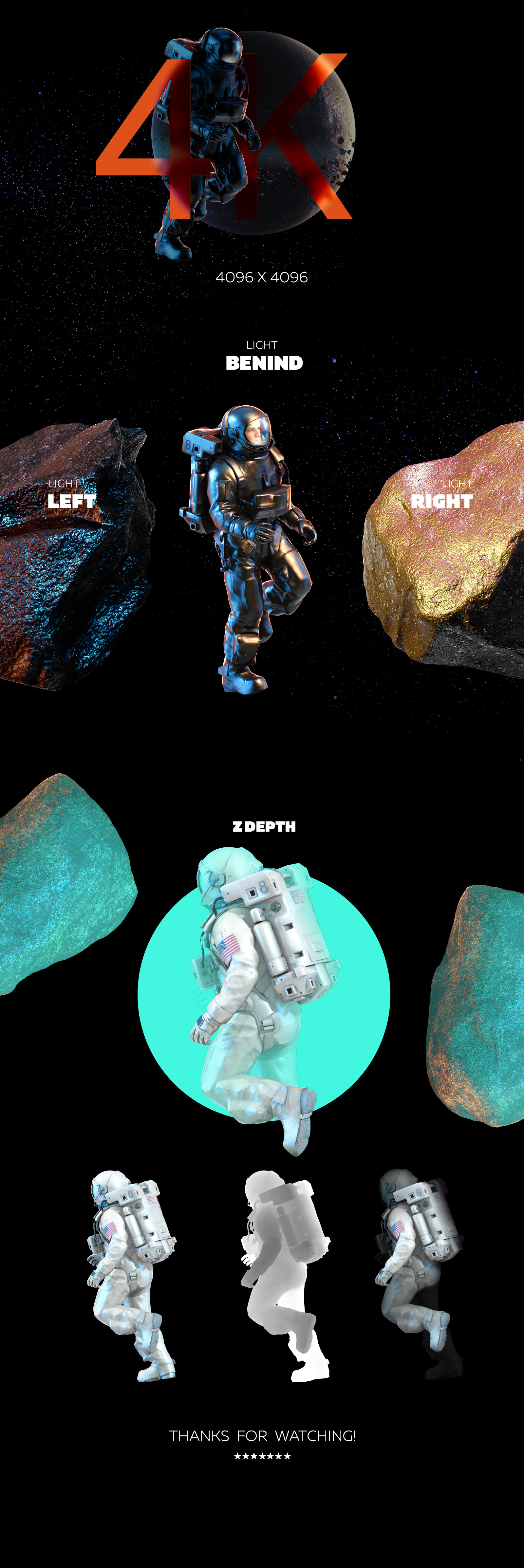 3D Mockup Space Astronaut #07