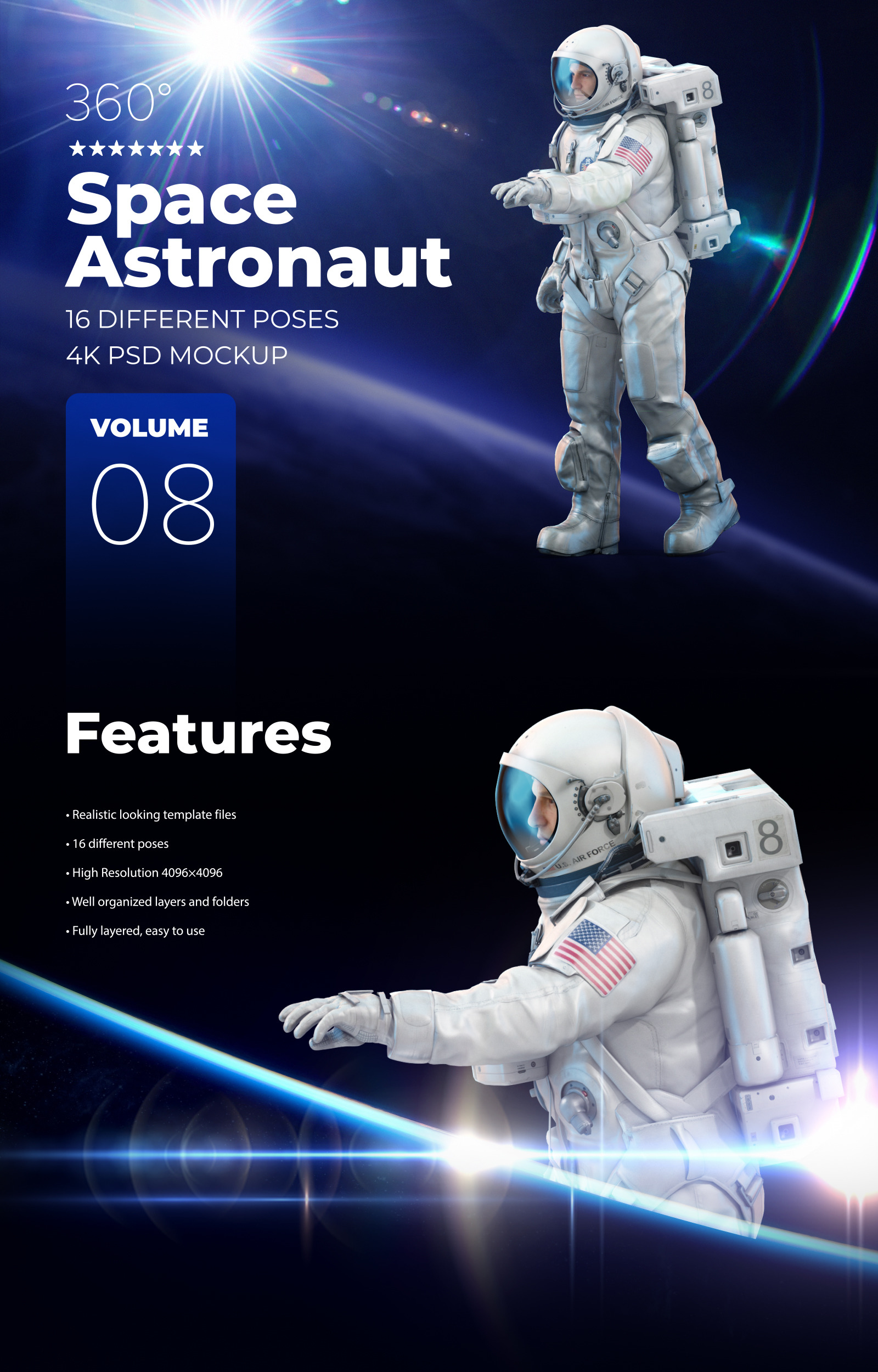 3D Mockup Space Astronaut #08