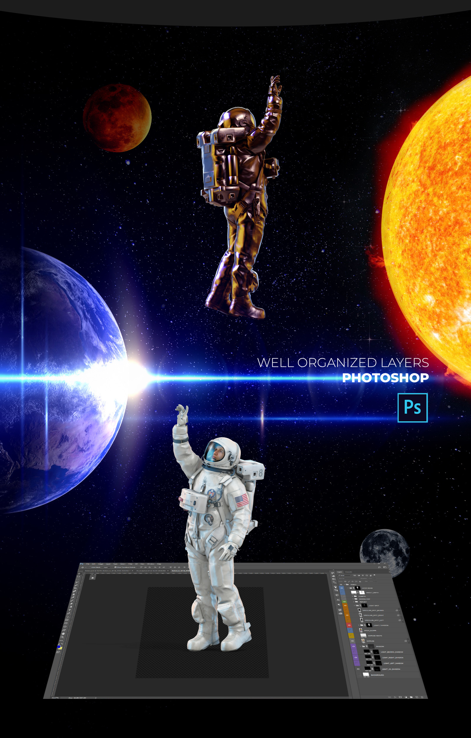 3D Mockup Space Astronaut #16