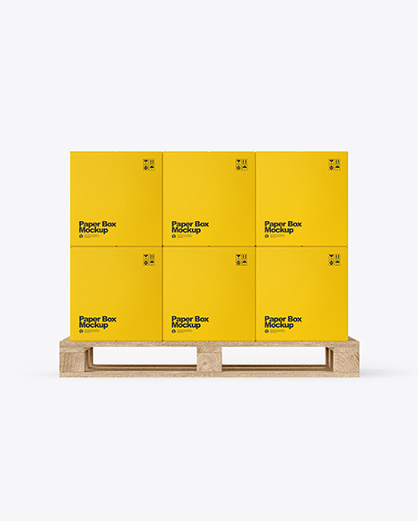 Wooden Pallet With Paper Boxes Mockup