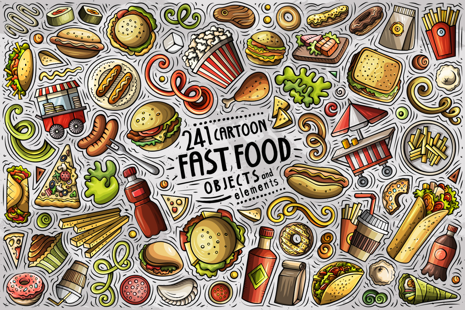 Fast Food Cartoon Vector Objects Set
