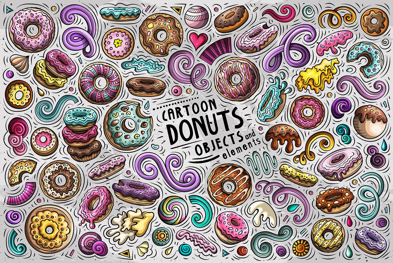 Donuts Cartoon Vector Objects Set