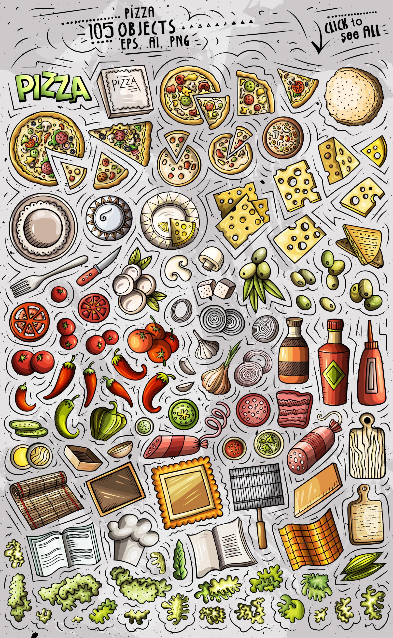 Pizza Cartoon Vector Objects Set
