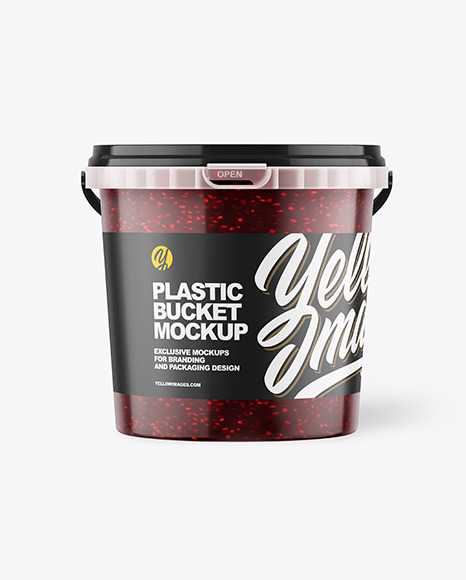 Plastic Bucket with Raspberry Jam Mockup