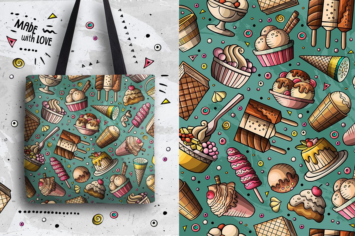 Ice Cream Cartoon Seamless Patterns