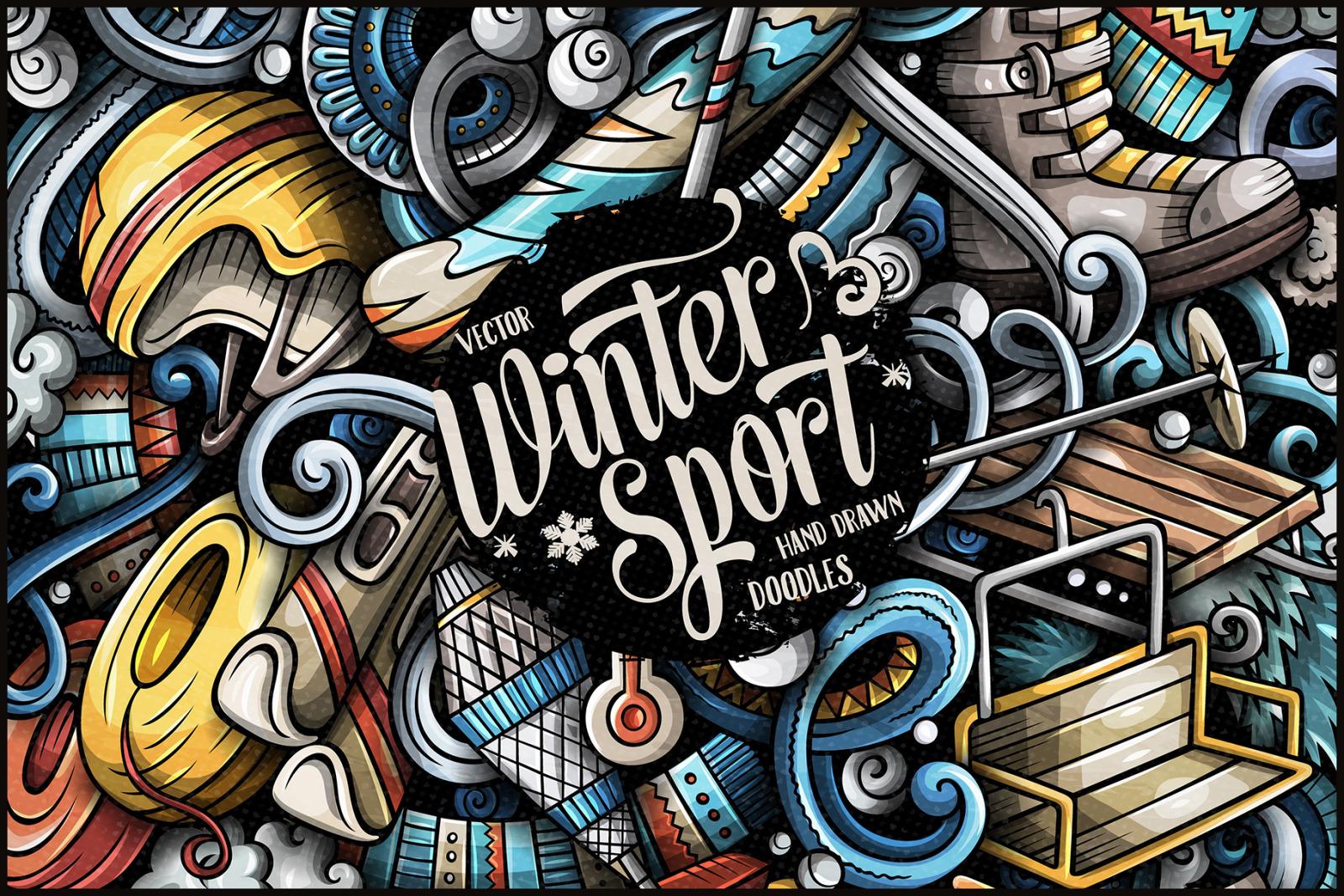 Winter Sports Vector Doodle Illustration