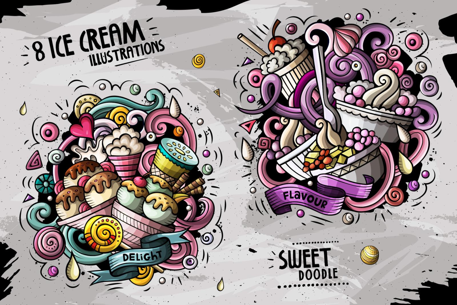 8 Ice Cream Cartoon Doodle Compositions