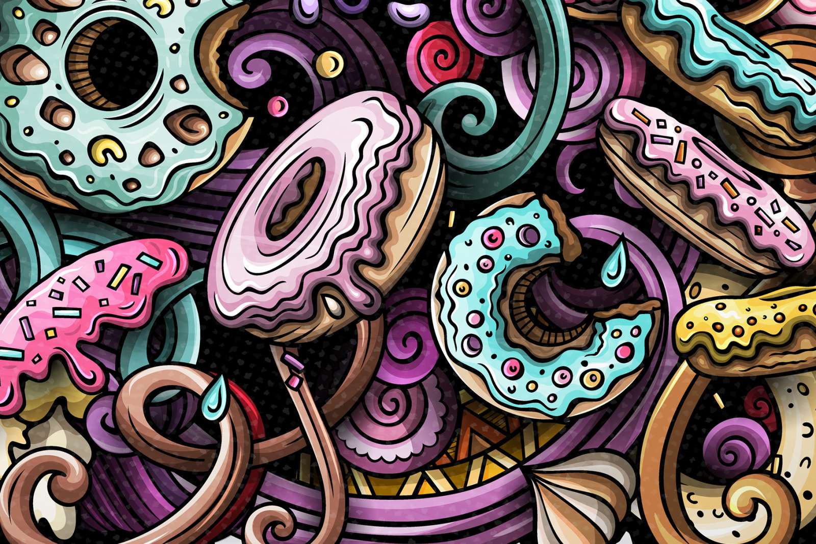 Donuts Vector Doodle Illustration