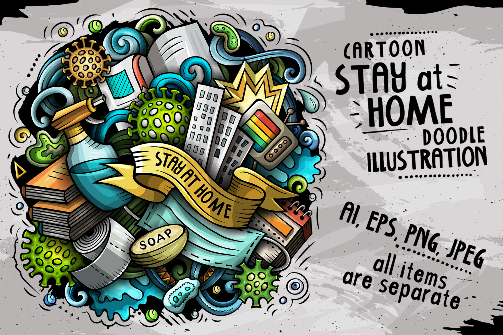 Cartoon vector doodles Stay at Home Illustration