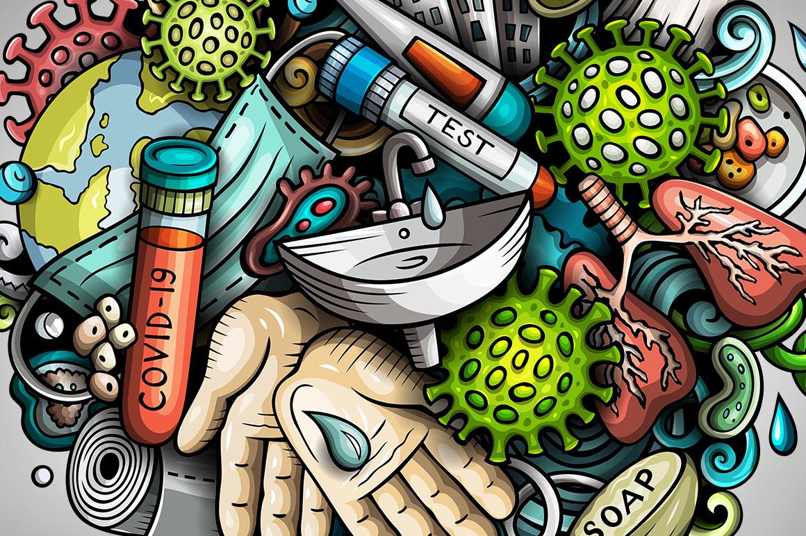 Cartoon vector doodles Epidemic illustration