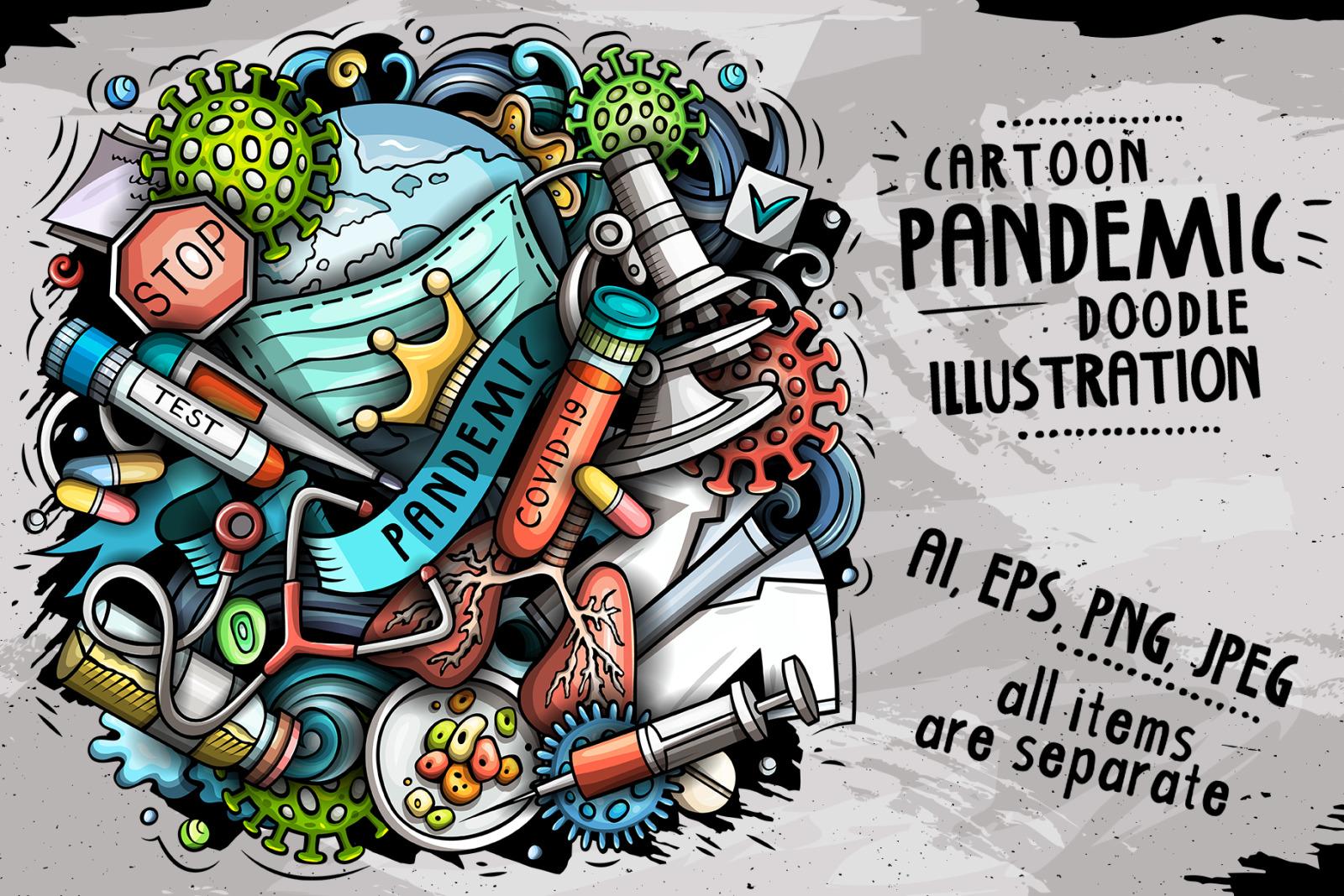 Cartoon vector doodles Pandemic illustration