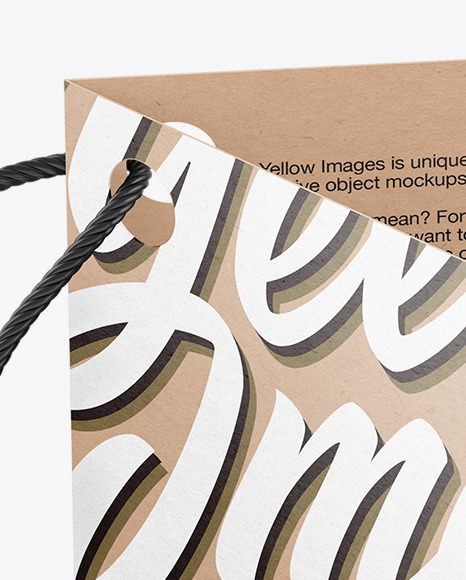 Kraft Folded Label With Rope Mockup
