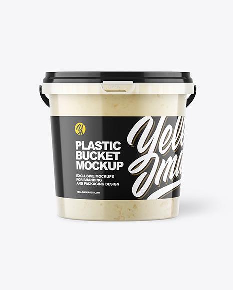 Plastic Bucket with Sauce Mockup