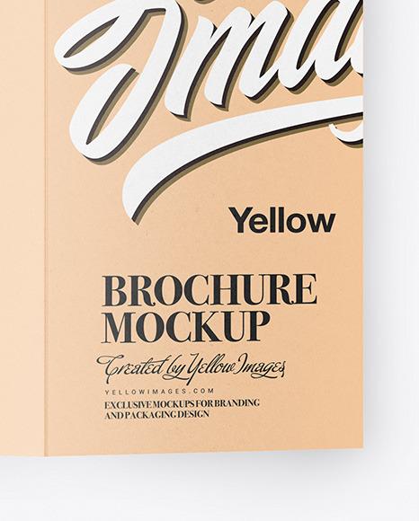 Kraft Broсhure with Pen Mockup