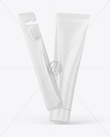 Toothbrush w/ Cosmetic Tube Mockup