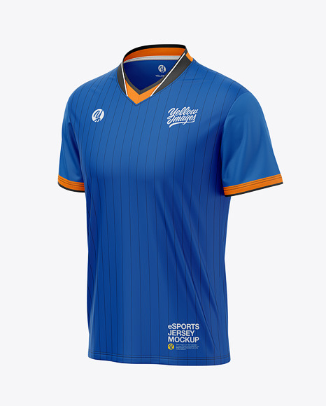 Men's V-Neck eSports Jersey Mockup - Front Half-Side View - eSport T-shirt