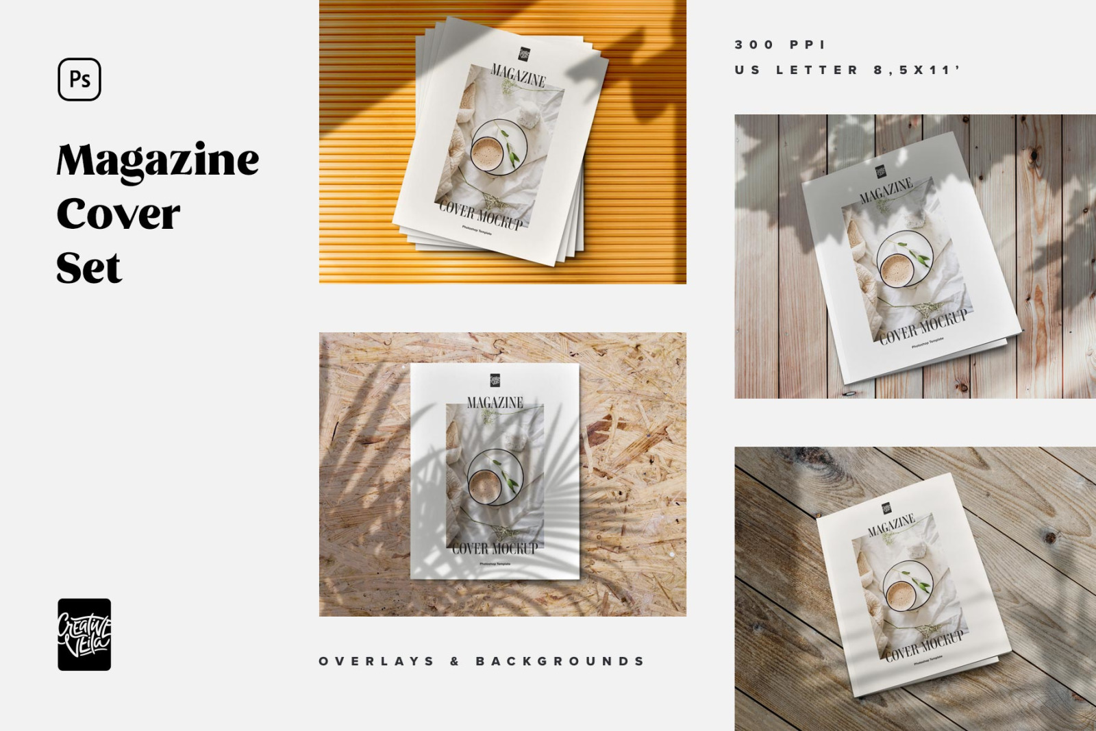 Download Magazine Cover Mockup Set In Stationery Mockups On Yellow Images Creative Store PSD Mockup Templates