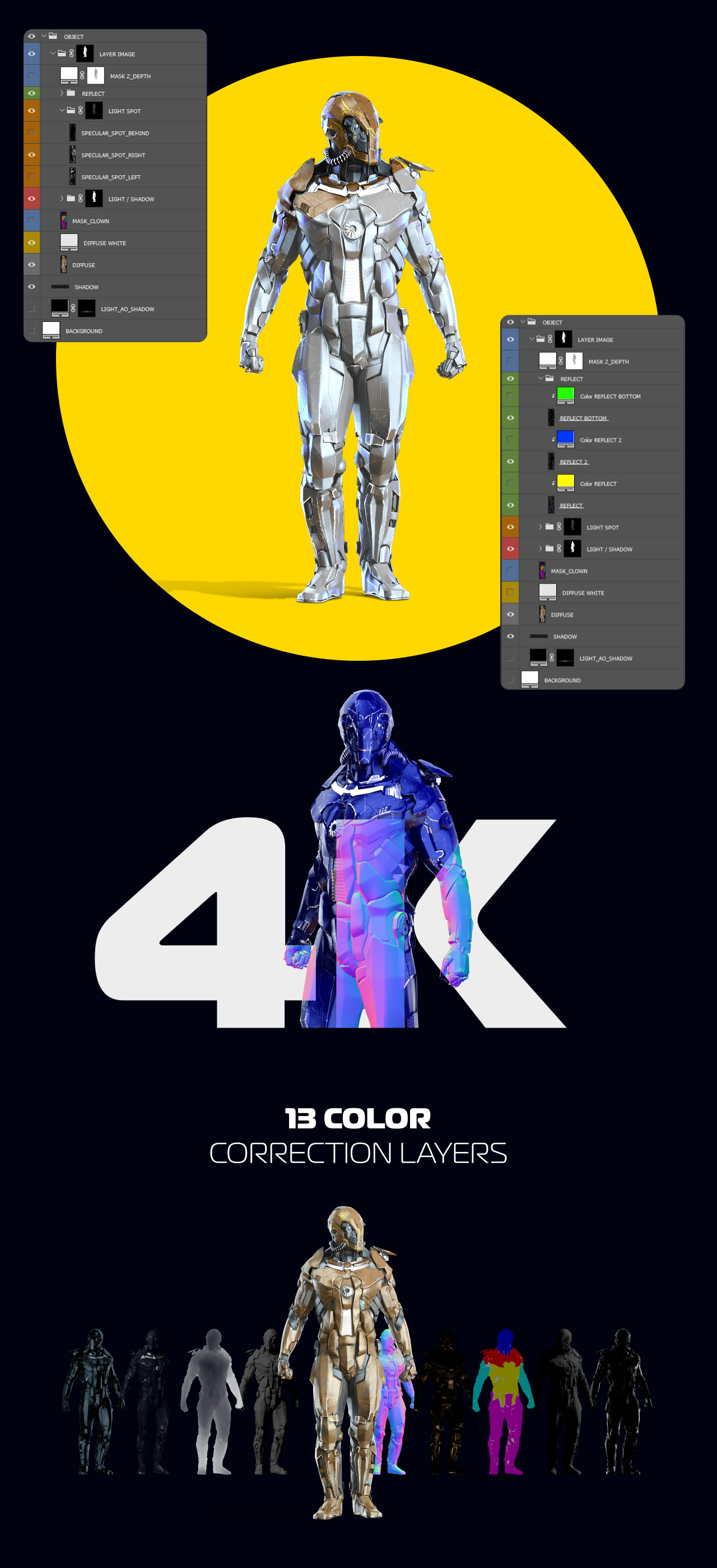 3D Mockup Space Astronaut Security Robots #16