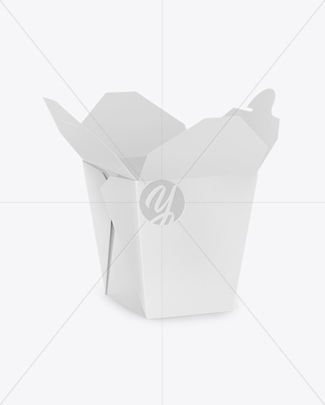 Download Opened Glossy Paper Noodles Box Mockup Half Side View In Box Mockups On Yellow Images Object Mockups