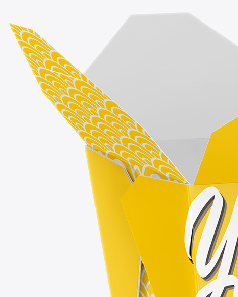 Download Opened Glossy Paper Noodles Box Mockup Half Side View In Box Mockups On Yellow Images Object Mockups PSD Mockup Templates