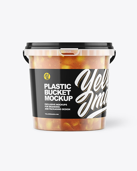Plastic Bucket with Sauce Mockup