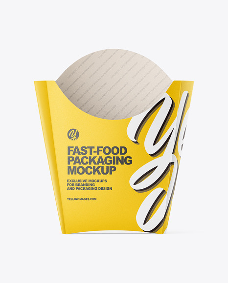 Download Matte Paper Large Size Fast Food Packaging Mockup Front View In Box Mockups On Yellow Images Object Mockups PSD Mockup Templates