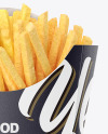 Matte Paper Large Size French Fries Packaging Mockup - Front View