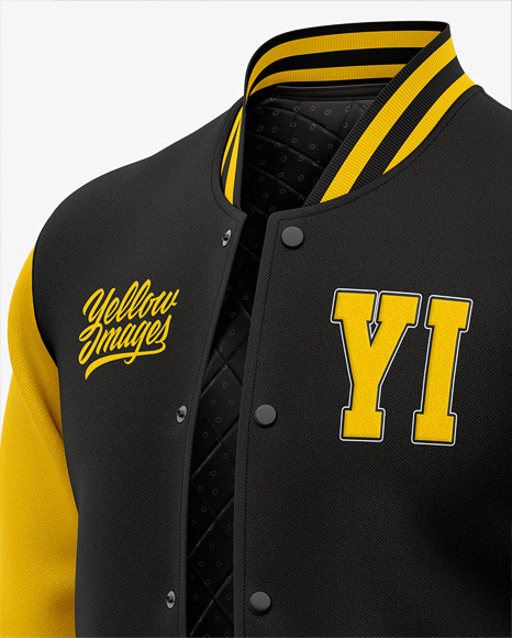 Men's Letterman Jacket or Varsity Jackets - Front Half Side View