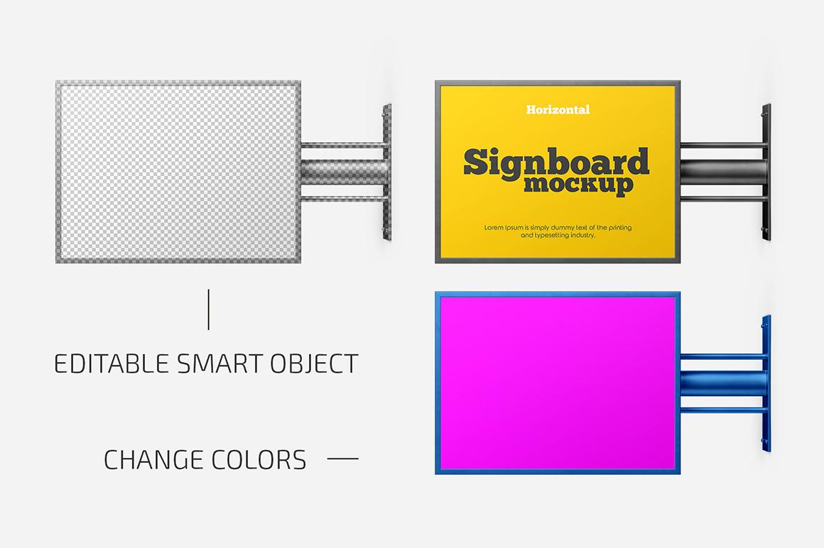Horizontal Signboard Mockup Set