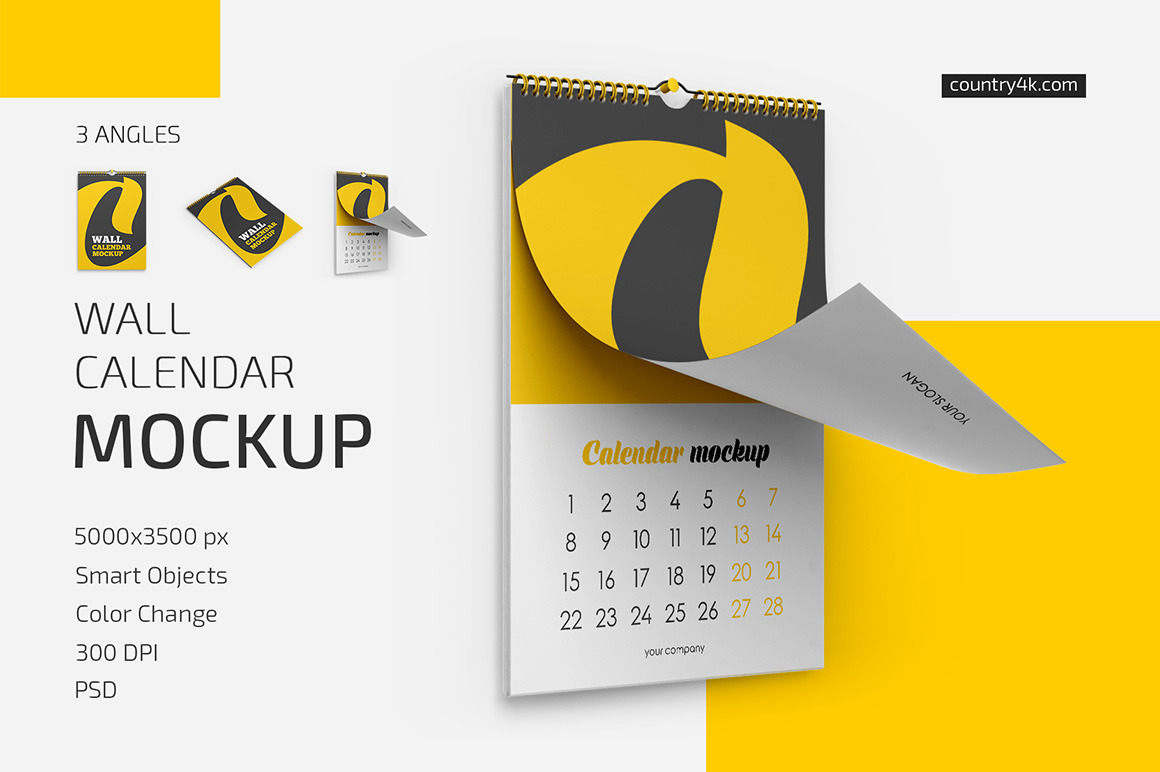 Wall Calendar v01 Mockup Set