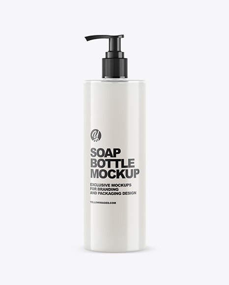 White Soap Bottle with Pump Mockup