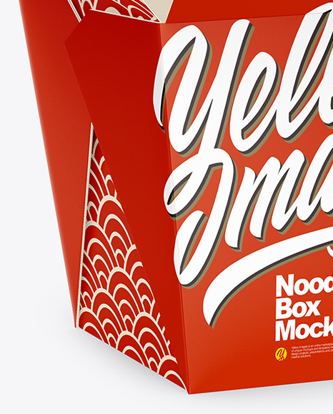 Download Opened Matte Paper Noodles Box Mockup Half Side View In Box Mockups On Yellow Images Object Mockups PSD Mockup Templates