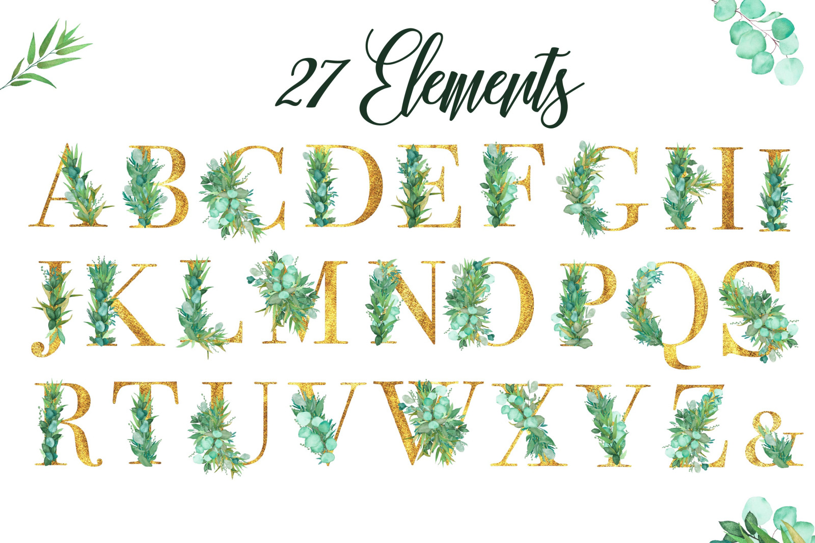 Botanical Watercolor and Glitter Alphabet  Elements.