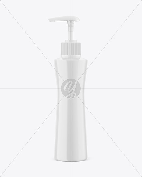 Glossy Plastic Cosmetic Bottle With Pump Mockup