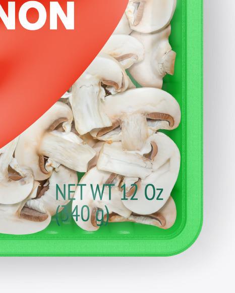 Plastic Tray With Sliced Champignon Mockup