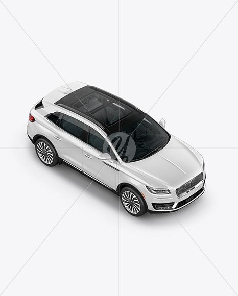 Crossover SUV Mockup – HalfSide View (High-Angle Shot) - Yellowimages Mockups