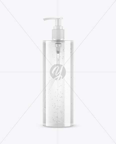 Clear Soap Bottle with Pump Mockup