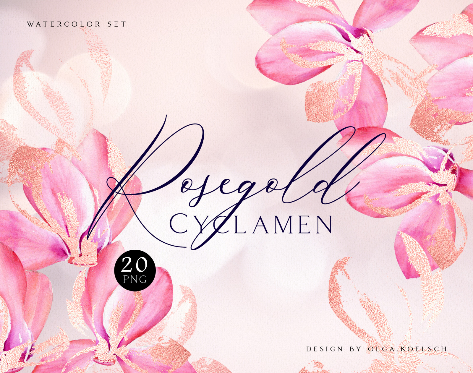 Watercolor clipart with pink floral & rose gold