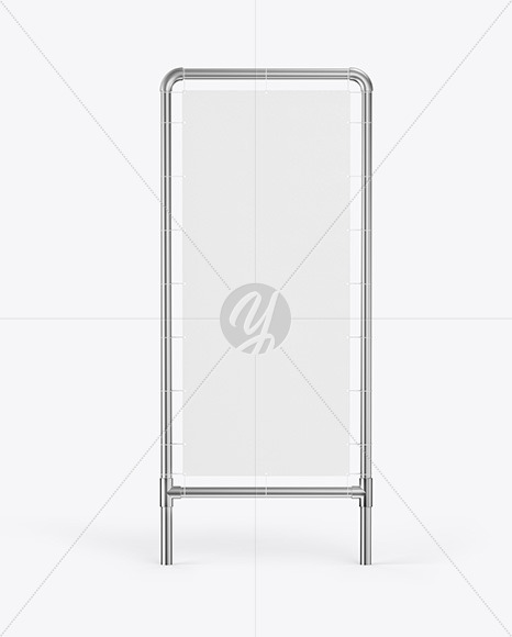Metallic Stand w/ Fabric Banner Mockup