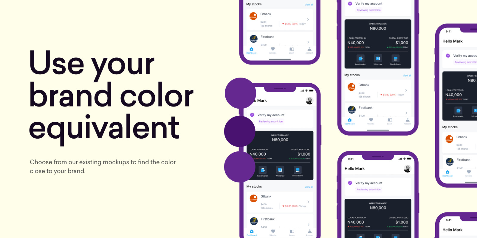 Moockly colorful app mockups