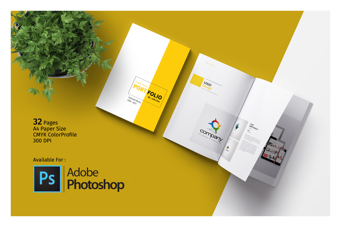 PSD Portfolio Template in Brochure Templates on Yellow Images ...