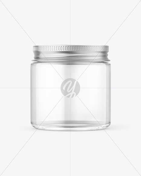 Clear Glass Cosmetic Jar with Metallic Cap Mockup