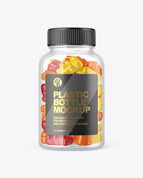 Plastic Bottle with Gummies Mockup