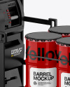 Fork Lift w/ 4 Glossy Barrels & Wooden Pallet Mockup