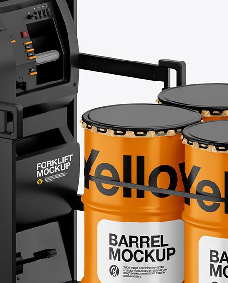 Fork Lift w/ 4 Matte Barrels & Wooden Pallet Mockup