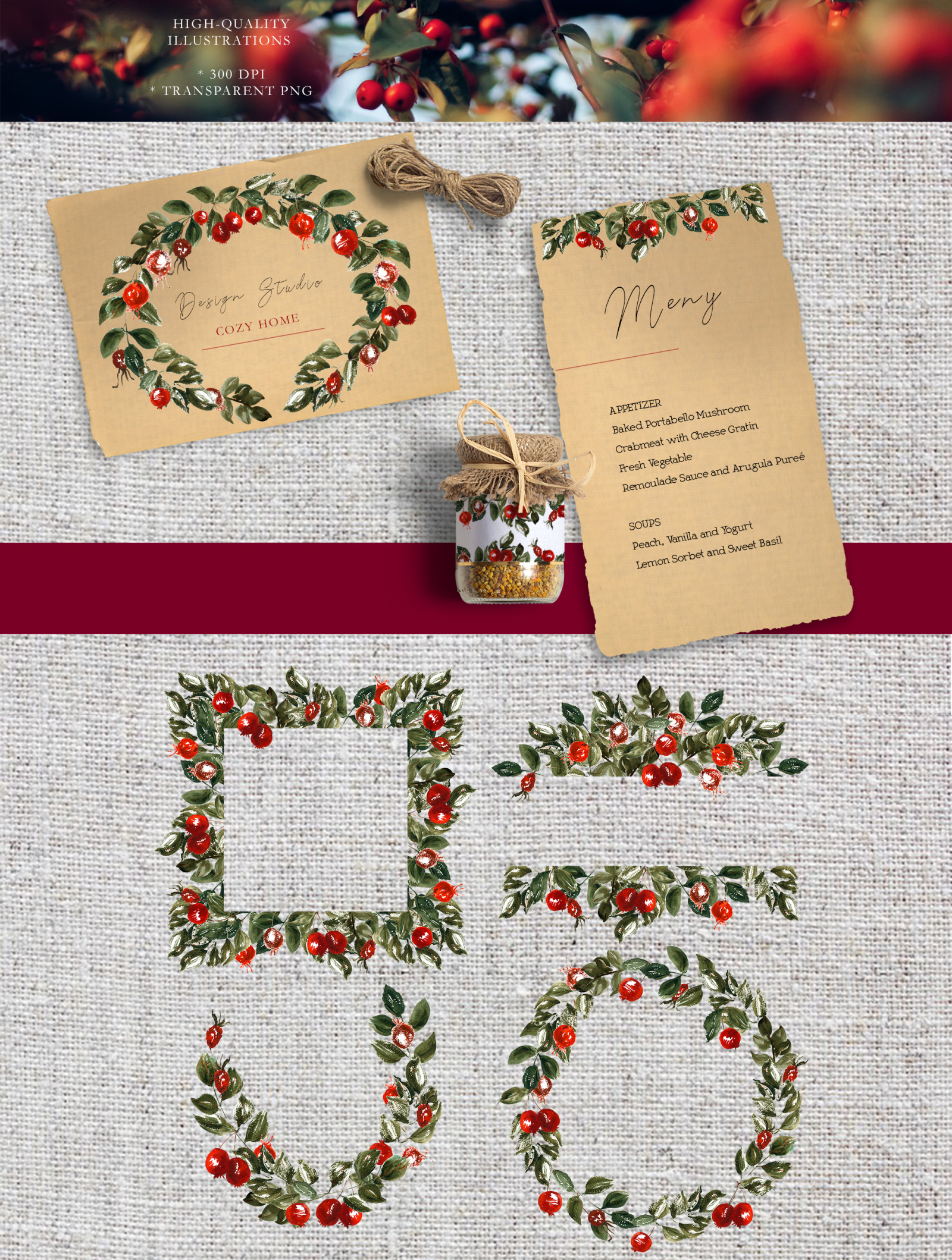 Watercolor autumn boho clipart Red berries and hand drawn floral elements. Floral frames png autumn